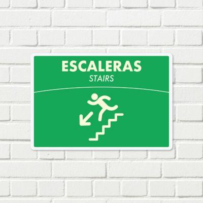 Señal Escalera Abajo Fotoluminiscente 22x15cm