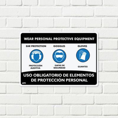 Señal Uso Elementos De Protección Tapaoidos-Guantes-Gafas 35x24cm