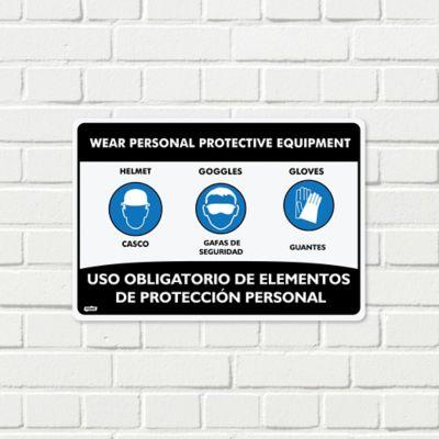 Señal Uso Elementos De Protección Casco-Gafas-Guantes 35x24cm