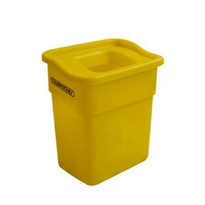 Caneca Plástica Rectangular con Tapa Orificio 20 Litros Amarillo