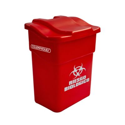 Caneca Plástica con Tapa Plana 20 Litros Rojo