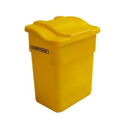 Caneca Plástica con Tapa Plana 20 Litros Amarillo