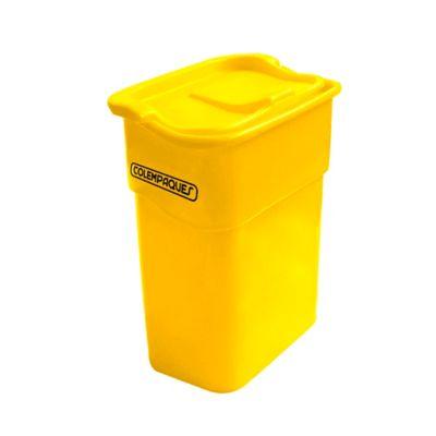 Caneca Plástica con Tapa Vaivén 35 Litros Amarillo