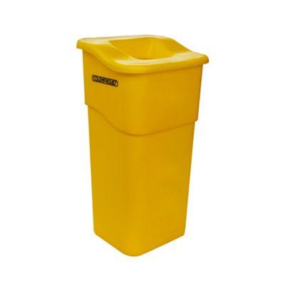 Caneca Plástica Rectangular con Tapa Orificio 50 Litros Amarillo
