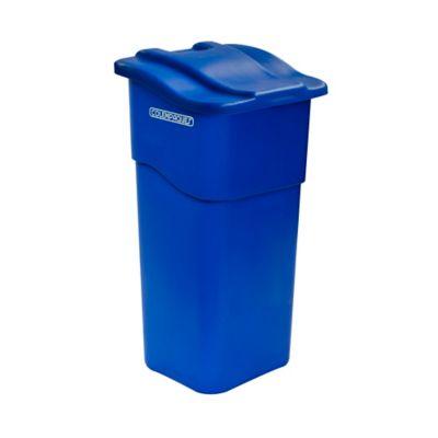 Caneca Plástica con Tapa Plana 50 Litros Azul