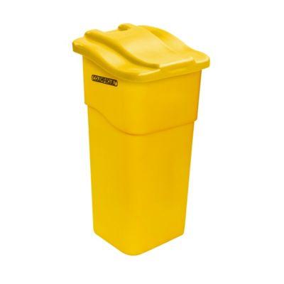 Caneca Plástica con Tapa Plana 50 Litros Amarillo