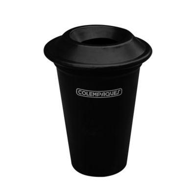 Caneca Plástica con Tapa Orificio 38 Litros Negro