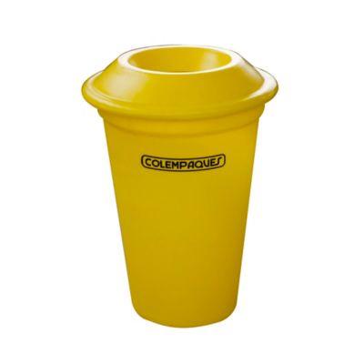 Caneca Plástica con Tapa Orificio 38 Litros Amarillo