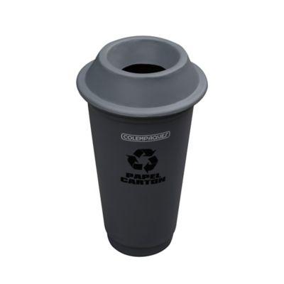 Caneca Plastica Cónica con Tapa Orificio 75 Litros Gris