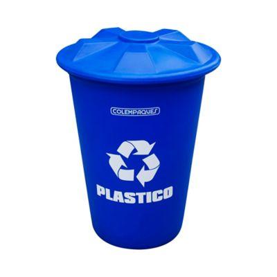 Caneca Plástica con Tapa Cónica Plana Plástico 150 Lts. - Azul