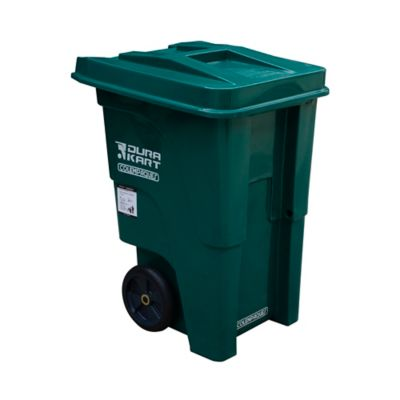 Carro basura durakart tapla plana 55 galones verde llanta maciza