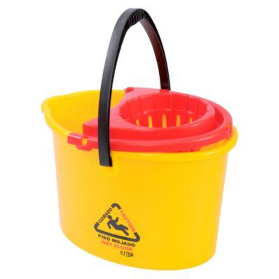 Balde con escurridor 12 litros amarillo para piso mojado