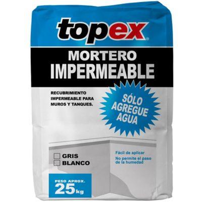 Mortero impermeable blanco 25 kilos, Topex