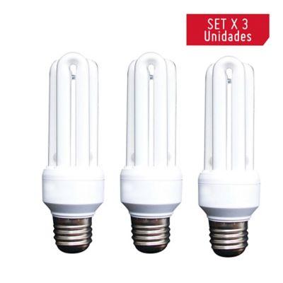 Bombillo ahorrador 3u 15w luz blanca x 3 unidades