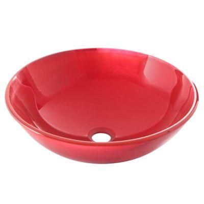 Lavamanos vessel vidrio rojo