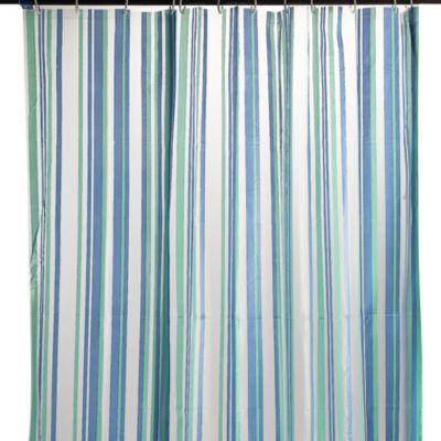 Cortina baño rayas azul