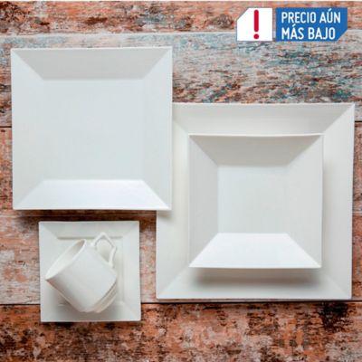 Vajilla 4 puestos 20 piezas quadratto blanco