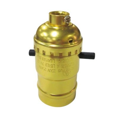 Portalampara Dorado con Interruptor de Presión 250