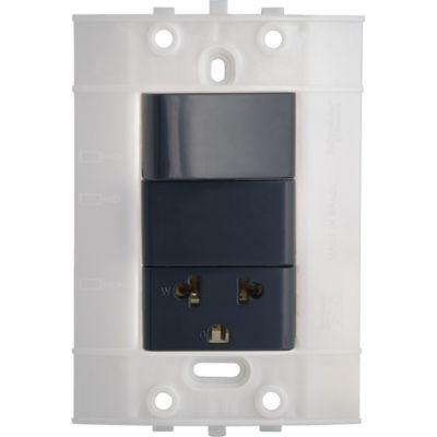 Interruptor + Tomacorriente Decor, 2P+T, 10 A, 250 V, Grafito, sin Placa