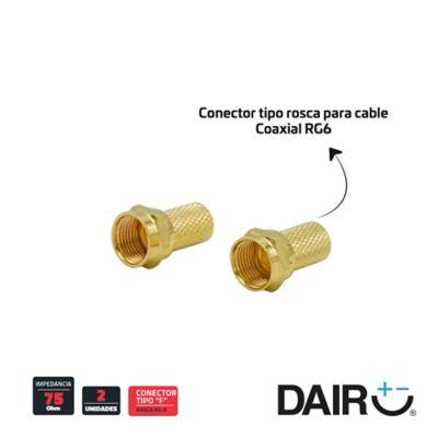 Conector coaxial por 2 unidades rg6 roscados dorados