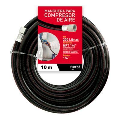 Manguera aire 200 libras 10 metros largo x 1/4 pulgadas (0,63 diámetro) acoplada ,Flexco CM0250X10-0-UND