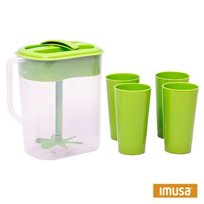 Jarra familiar 4 litros con mezclador + 4 vasos