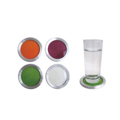 Portavasos redondos x 4 unidades vidrio colores surtidos
