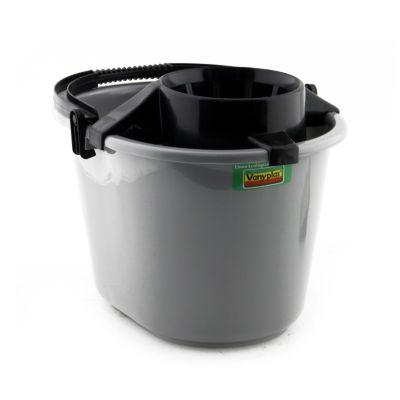 Balde 12 litros gris con escurridor
