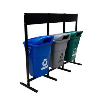 Estación de Reciclaje x 3 Canecas 100 Litros con Tablero