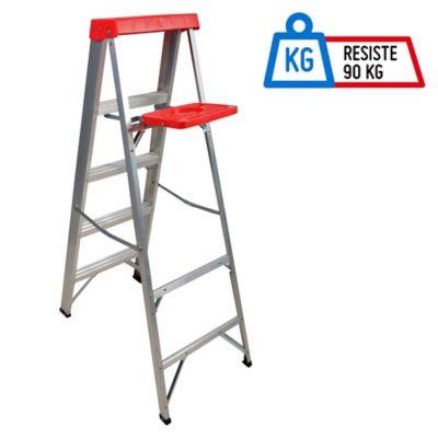 Escalera 1.56mt 4 Pasos Tijera/Bandeja Aluminio 90kg TIII