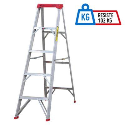 Escalera 1.8mt 5 Pasos Tijera/Bandeja Aluminio 102kg TII