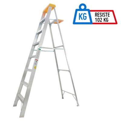 Escalera 2.48mt 7 Pasos Tijera/Bandeja Aluminio 102kg TII