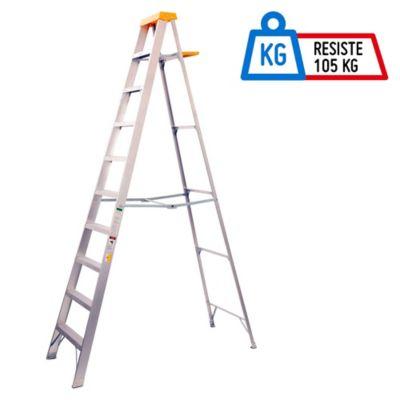 Escalera 3.10mt 9 Pasos Tijera/Bandeja Aluminio 102kg TII