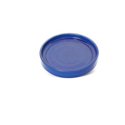 Plato redondo porta matero esmaltado azul