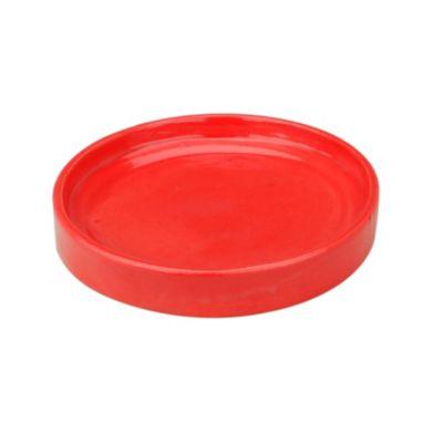Plato redondo porta matero esmaltado rojo
