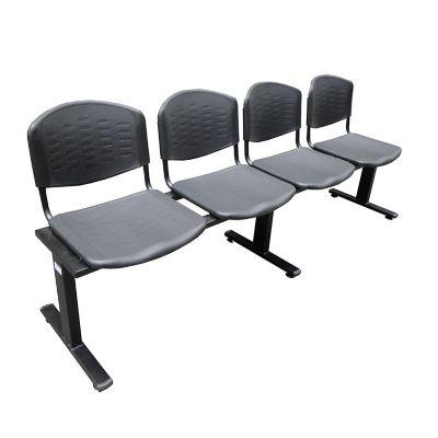 Silla tandem 4 puestos isósceles espaldar y asiento plástico negro