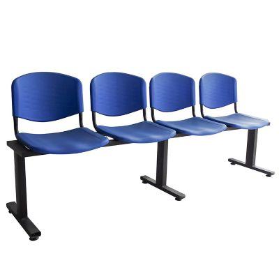 Silla tandem 4 puestos isósceles espaldar y asiento plástico azul