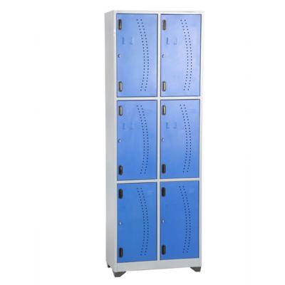 Locker metálico 6 puestos azul de 180x93x30 cm