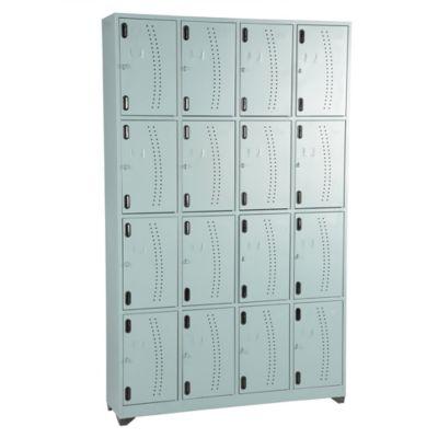 Locker metálico 16 puestos gris de 200x123x30 cm
