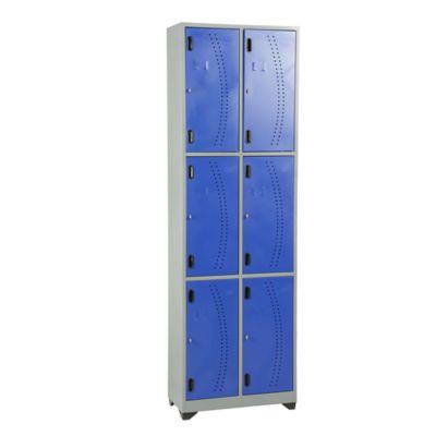 Locker metálico vertical 6 puestos azul de 200x63x30 cm