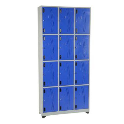 Locker metálico 12 puestos gris azul de 200x93x30 cm
