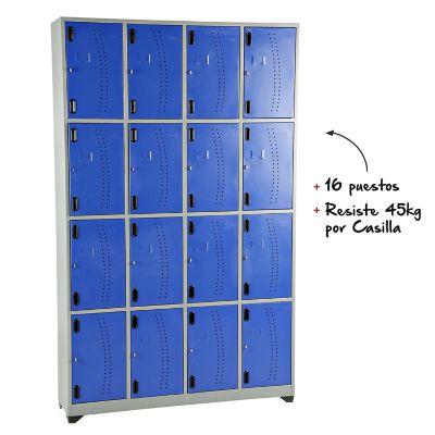 Locker metálico 16 puestos gris azul de 200x123x30 cm
