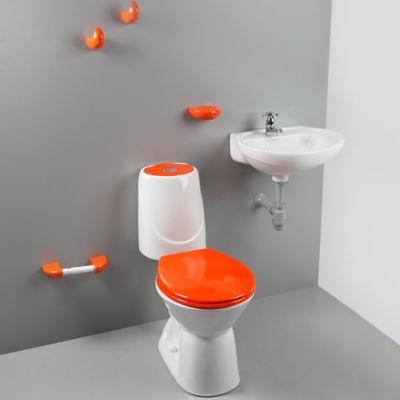 Combo Sanitario Happy II 4.8 Litros descarga Single Con Lavamanos y Accesorios Bicolor Naranja
