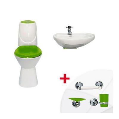Combo de Baño Happy II Con Semi-Pedestal Verde