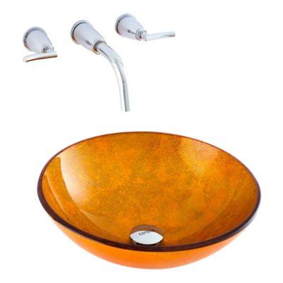 Lavamanos Vessel D-Oro Con desagüe Dorado