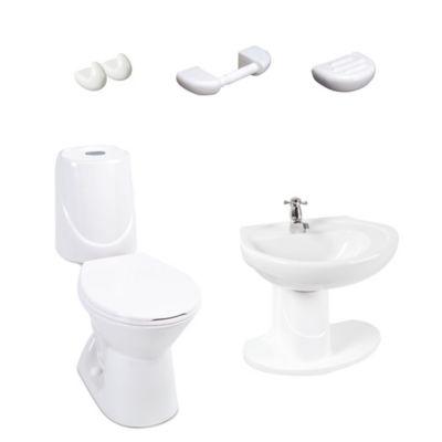 Combo Sanitario Happy II 4. 8 Litros Descarga Single con Lavamanos y Semi Pedestal Blanco