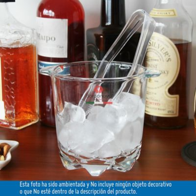 Hielera vidrio con pinza plastica