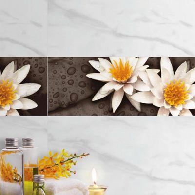 Base Cerámica Decorada para Baño Flor de Lotto 20x60 Centímetros Negra