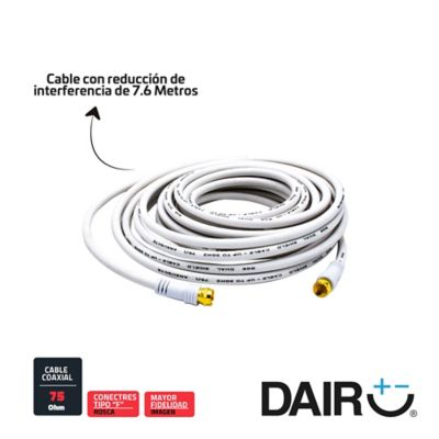 Cable Coaxial RG6 Blanco Rosca 7.6 M