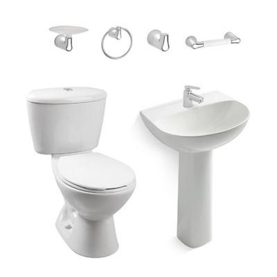 Combo Manantial : Sanitario Manantial + Lavamanos con Pedestal Manantial + Grifería Nogal + Accesorios Nogal